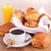 picture of french pastry  - breakfast with coffee cup and pastries - JPG