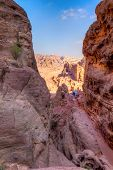 image of empty tomb  - View of desert and ancient tombs carved in the rock in Petra - JPG