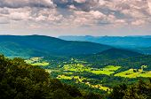 stock photo of virginia  - View of the Shenandoah Valley from Skyline Drive in Shenandoah National Park Virginia - JPG