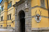SALZBURG, AUSTRIA - AUGUST 2012 : Tricky fountain hiding in a deer's antlers at Schloss Hellbrunn, a