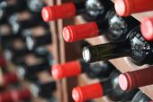 image of wine cellar  - wine bottles lined up in a cellar - JPG