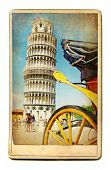vintage cards - European landmarks - Pisa poster