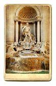 European landmarks- vintage cards- fountain Trevi poster