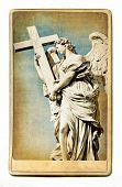 European landmarks- vintage cards- Roman sculpture poster