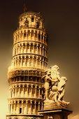 Pisa tower - italian landmarks series-artistic toned picture poster
