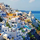 stock photo of greek-island  - view of Fira town  - JPG