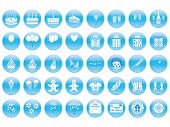 stock photo of clown rose  - set of round birthday icons vector illustration - JPG
