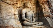 picture of polonnaruwa  - Unique monolith Buddha statue in Polonnaruwa temple  - JPG