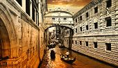 foto of gondolier  - amazing Venice on sunset - JPG