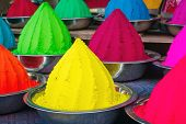 stock photo of pigment  - Colorful piles of powdered dyes used for Holi festival in India - JPG