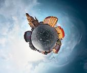 picture of spherical  - Spherical panorama of city of Dresden in a form of little planet - JPG