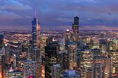 picture of willy  - Chicago skyline panorama aerial view with skyscrapers with cloudy  sky at dusk - JPG