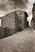 stock photo of ares  - Landscape with old town Ares in Spain - JPG