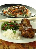 foto of chinese parsley  - Chicken rice and chinese vegetable salad closeup - JPG