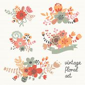 foto of bouquet  - Retro flowers in vector - JPG