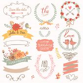 stock photo of calligraphy  - Wedding romantic collection with labels - JPG