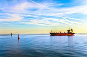 stock photo of fuel tanker  - Oil Tanker Ship and buoy in the sea - JPG