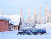 Snowmobile parking on snow in Kiruna Sweden