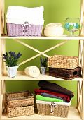 foto of armoire  - Beautiful white shelves with different home related objects - JPG