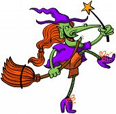 stock photo of panti-tights  - Joyful and cool witch smiling - JPG