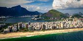 foto of ipanema  - Aerial view of buildings on the beach front Ipanema Beach Rio De Janeiro Brazil - JPG