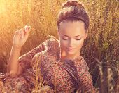 stock photo of slim model  - Beauty Romantic Girl Outdoors - JPG
