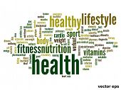 stock photo of strength  - Vector eps concept or conceptual abstract word cloud on white background as metaphor for health - JPG