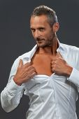 picture of open shirt breast showing  - white shirt on a manly man isolated - JPG