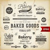 image of donut  - Set of vintage bakery logo badges and labels for retro design - JPG