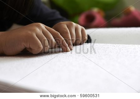 Blind Children Read Text In Braille