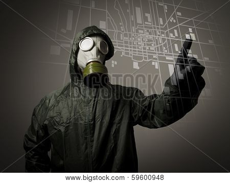 Gas Mask And Map. Evacuation.