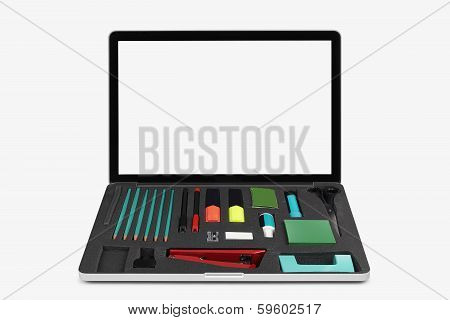 Laptop Isolated On White With Office Tools