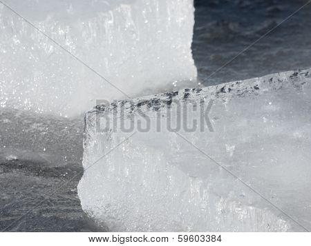 Ice Blocks On Water Surface