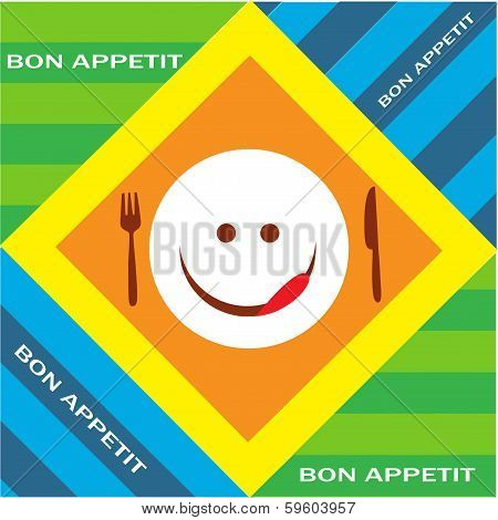 Hungry emoticon with fork and knife