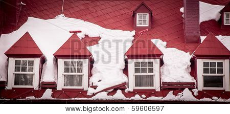red roof with snow
