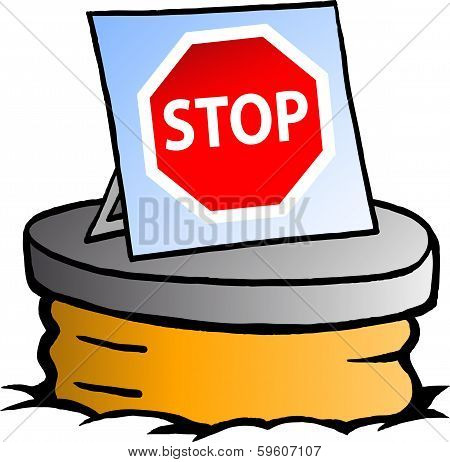 Hand-drawn Vector Illustration Of An Sewer With A Stop Sign