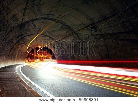 Traffic trail in tunnel