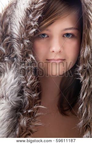 Beauty Girl With Fur