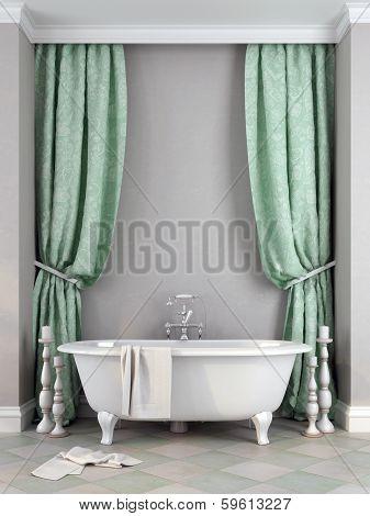 Beautiful Bath Against A Gray Background