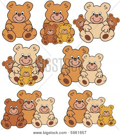 teddy bears in different groups, colors and sizes