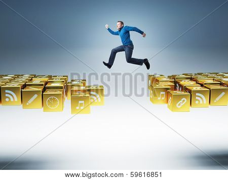 man jump on smart icons bridge