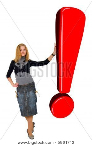 Blonde Girl With Glow Red Exclamation Sign. Isolated On White Background.