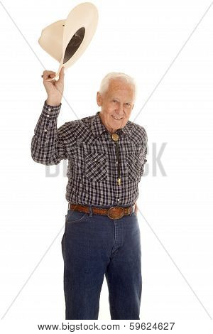 Elderly Man Cowboy Hat Up