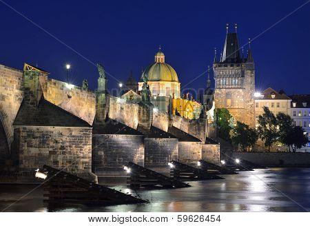 Vltava River, Charles Bridge And Old Town Bridge Tower