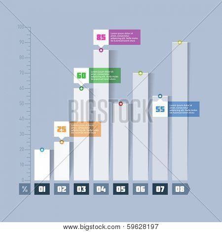 Bar chart, graph infographics elements. Vector.