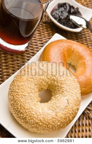 Fresh Bagels With Jam