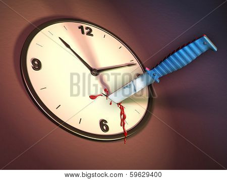 A clock stabbed with a knife. Digital illustration.