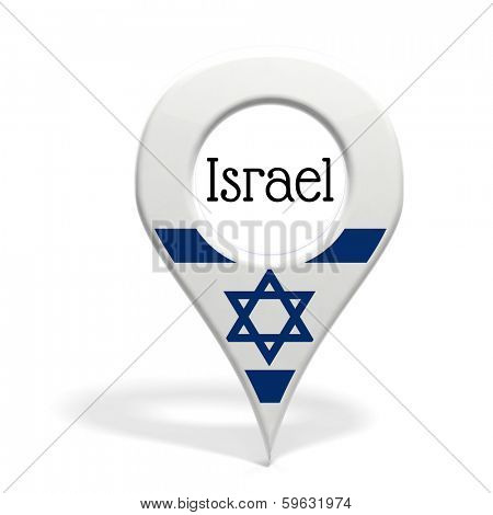 3D pinpoint with flag of Israel isolated on white