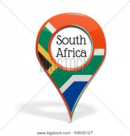 3D pinpoint with flag of South Africa isolated on white