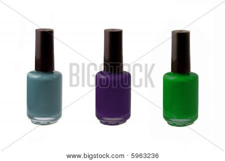 Dark Blue, Purple, and Green Fingernail Polish